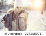 winter portrait of young girl...   Shutterstock . vector #229265071
