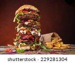 delicious big hamburger on... | Shutterstock . vector #229281304