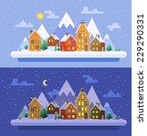 winter nature.  christmas time. ... | Shutterstock .eps vector #229290331