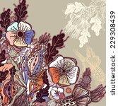 vector decorative floral... | Shutterstock .eps vector #229308439