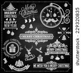 christmas ornaments chalk set  | Shutterstock .eps vector #229320835