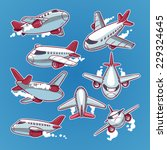 cartoon airplane set