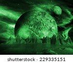 Alien Moon Rises Over A Distan...