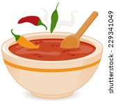 bowl of hot chili soup.  | Shutterstock .eps vector #229341049