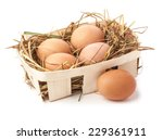 Eggs In Hay Isolated On White...