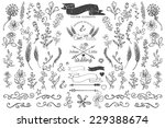 doodles flowers branches border ... | Shutterstock .eps vector #229388674