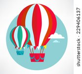 hot air balloon flying and... | Shutterstock .eps vector #229406137
