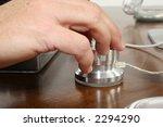 man's hand on assignable usb... | Shutterstock . vector #2294290