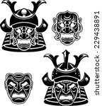samurai head  | Shutterstock .eps vector #229438891