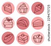 set of cakes  round icons.