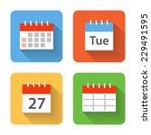 Flat Calendar Icons. Vector...