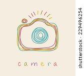vector camera icon. doodle hand ... | Shutterstock .eps vector #229496254
