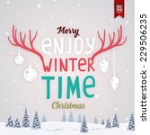 vintage christmas greeting card ... | Shutterstock .eps vector #229506235