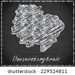 Map of Donnersbergkreis as chalkboard  in Black and White