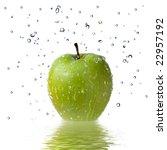fresh water drops on green... | Shutterstock . vector #22957192
