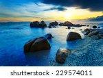 great sunset on tropical beach  ... | Shutterstock . vector #229574011