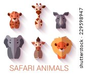 vector set of six safari... | Shutterstock .eps vector #229598947
