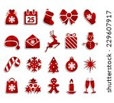 set of christmas icons with... | Shutterstock .eps vector #229607917