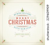 christmas retro greeting card... | Shutterstock .eps vector #229609909