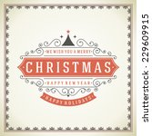 christmas retro greeting card... | Shutterstock .eps vector #229609915