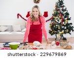 festive blonde making christmas ... | Shutterstock . vector #229679869