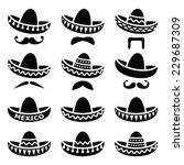 mexican sombrero hat with... | Shutterstock .eps vector #229687309