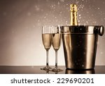 champagne bottle with glasses.... | Shutterstock . vector #229690201