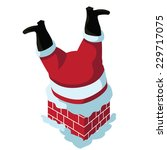 santa stuck in the chimney eps... | Shutterstock .eps vector #229717075