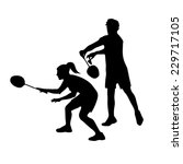 silhouettes of mixed team... | Shutterstock .eps vector #229717105