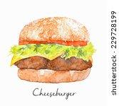 hand drawn hamburger ... | Shutterstock .eps vector #229728199