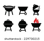 vector black barbecue  icons... | Shutterstock .eps vector #229730215