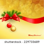 christmas card with red ribbon | Shutterstock .eps vector #229733689