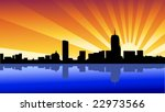 skyline boston - stock vector