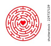 round vector maze with a red... | Shutterstock .eps vector #229737139