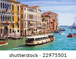 Famous water street - Grand Canal in Venice, Italy - stock photo