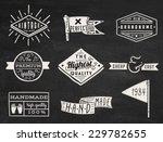 Set of chalk hipster vintage retro labels and logo on chalkboard background | Shutterstock vector #229782655