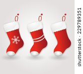 set of red santa's boot.... | Shutterstock .eps vector #229789351