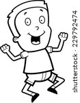 a happy cartoon boy jumping and ... | Shutterstock .eps vector #229792474