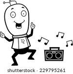 a happy cartoon alien dancing... | Shutterstock .eps vector #229795261