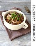 tasty buckwheat with mushrooms... | Shutterstock . vector #229857439