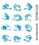 large curling blue waves icons... | Shutterstock .eps vector #229861234