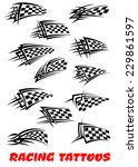 checkered flags set stylized as ... | Shutterstock .eps vector #229861597