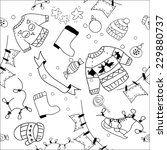 assorted doodle christmas black ... | Shutterstock . vector #229880737