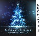 shining christmas tree on blue... | Shutterstock .eps vector #229887739