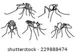 set of black biting mosquitoes... | Shutterstock . vector #229888474