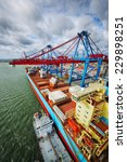 container ship mored in a large ...   Shutterstock . vector #229898251