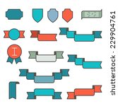 set of ribbons in flat line... | Shutterstock .eps vector #229904761