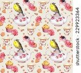 teapot  tea cup  cakes  rose... | Shutterstock . vector #229923364