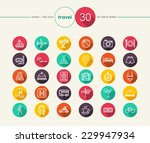 travel colorful flat icons set...