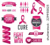 set of breast cancer awareness... | Shutterstock .eps vector #229950025